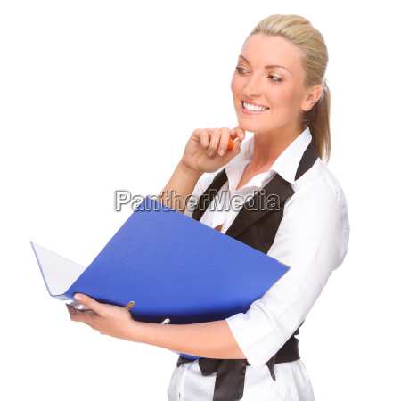 woman with file folders