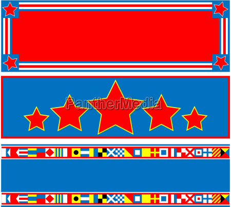 3 red white blue banners with