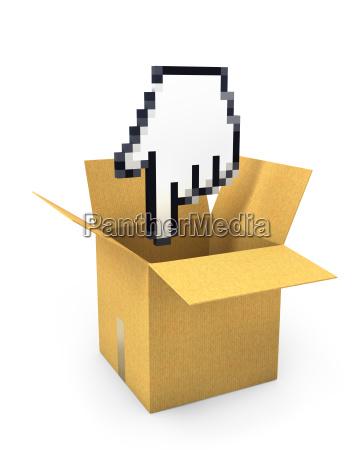 pixel hand cursor flies to carton