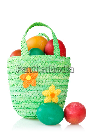 eggs in the decorative basket