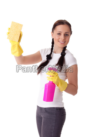 young woman with spray bottle and