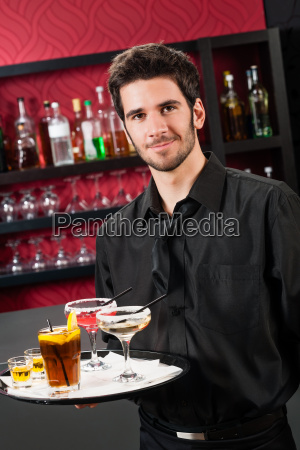 professional barman cocktail bar hold serving