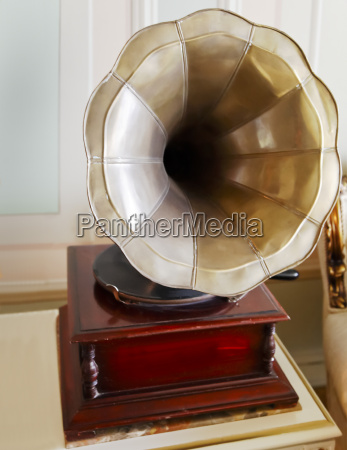 old antiquated clockwork gramophone
