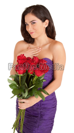 happy woman holding roses