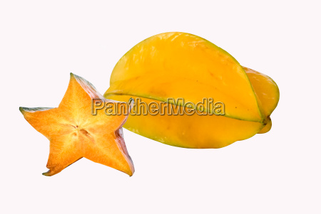 a carambola and its section isolated