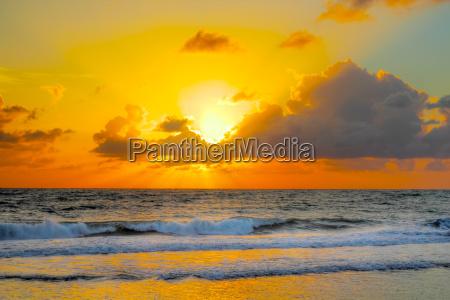 colorfull sunrise at an brazilian beach