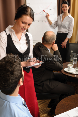leadership business meeting waitress take order