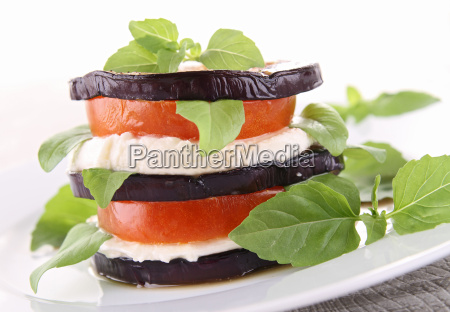 aubergine with mozzarella and tomato
