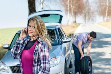car wheel defect man change puncture