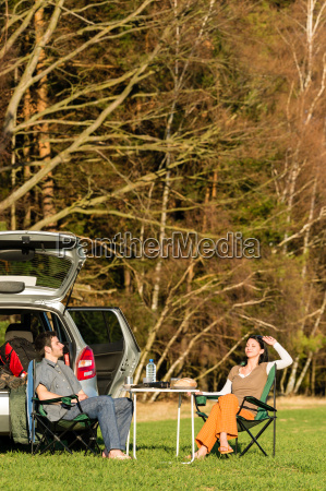 camping car young couple relax picnic