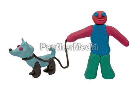 plasticine man with a dog