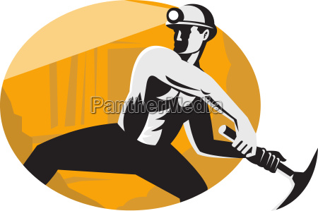 coal miner with pick ax striking