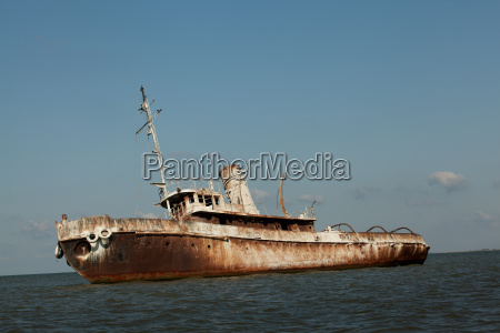 detail of abandoned wrecked ship seaside