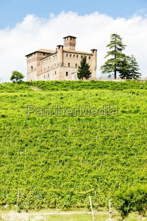 grinzane cavour castle with vineyard piedmont
