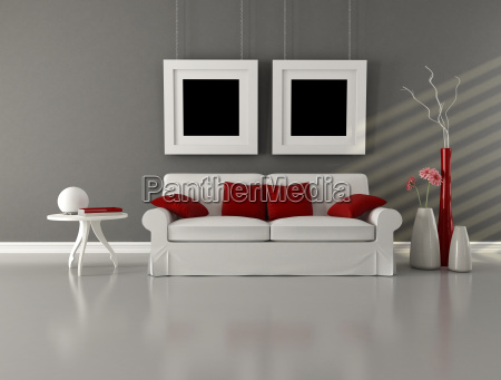 gray white and red minimalist living