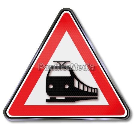 road sign tram
