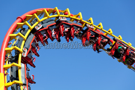rollercoaster against blue background
