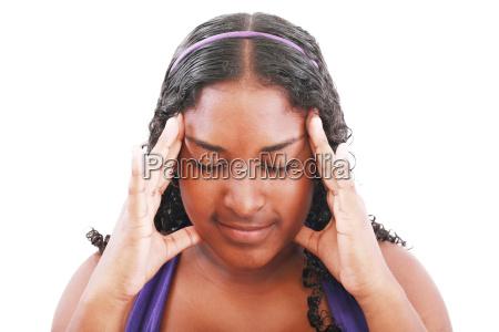 isolated portrait of worried teenage girl