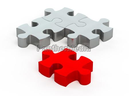 puzzleteile ein rot