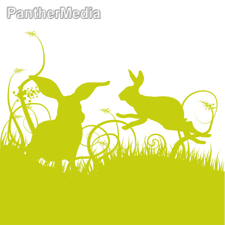 rabbits and blades of grass