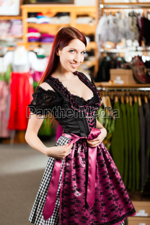 woman tasting tracht or dirndl in