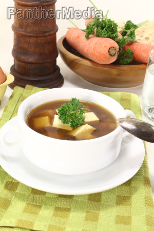 beef consomme with parsley