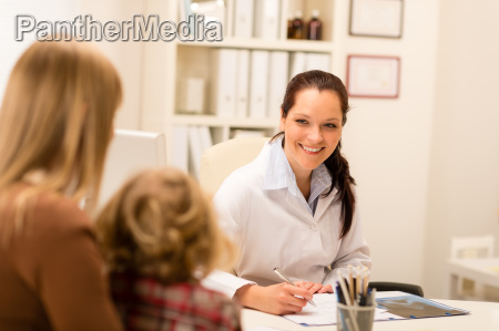 mother and child girl visit pediatrician