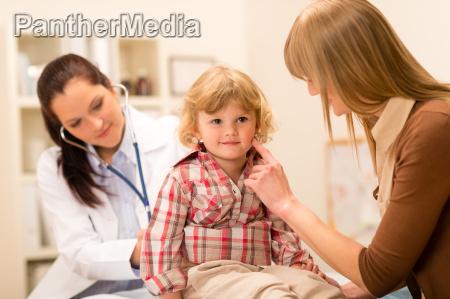 pediatrician examine child girl with stethoscope