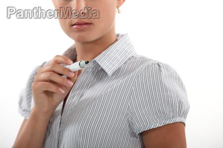 a businesswoman with a felt tip