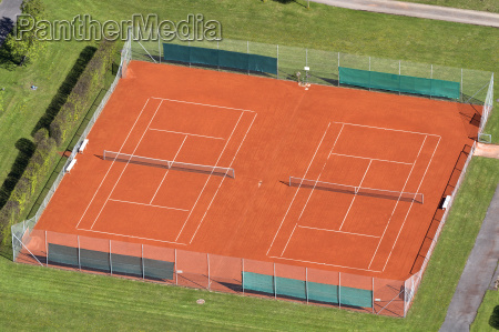 tennis court seen from above