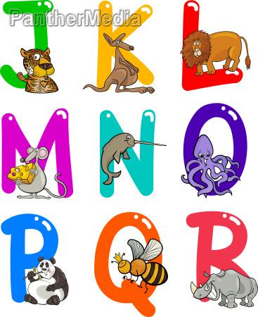 cartoon alphabet with animals