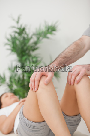 peaceful woman lying on a medical