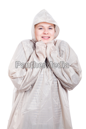 happy woman in raincoat
