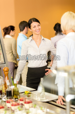 cafeteria lunch office women chat serving