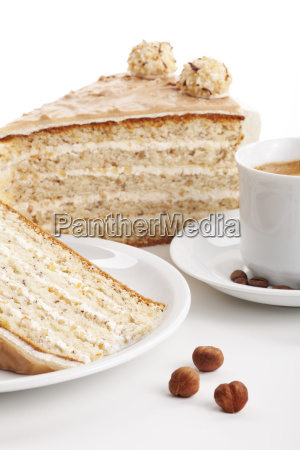 nut cake with a cup of