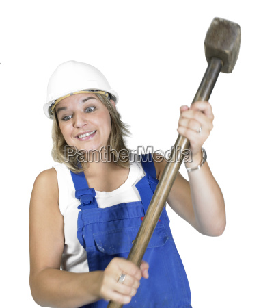 cute girl while hammering
