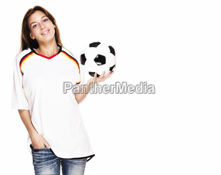 young laughing woman wearing jersey and