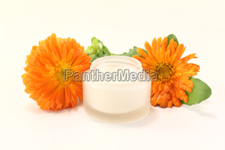 calendula ointment with flowers and leaves