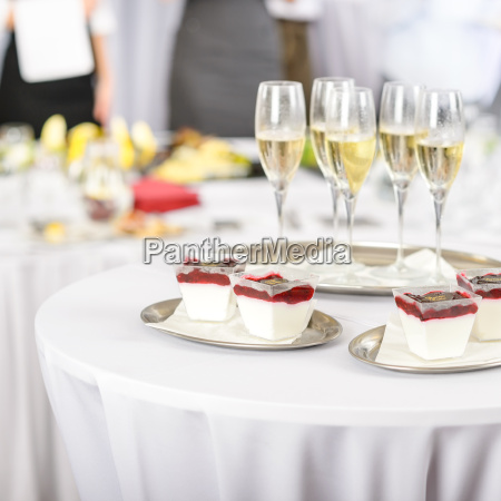 desserts and champagne for meeting participants
