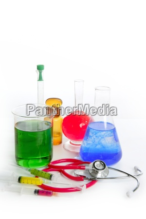 chemical research laboratory with medical equipment