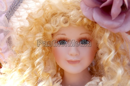 antique old blond porcelain doll face