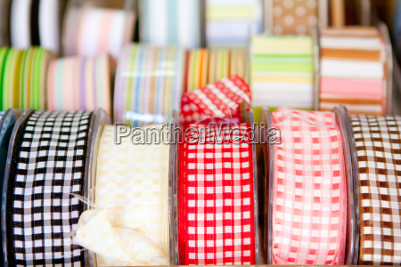 fabric tapes reels in haberdashery of