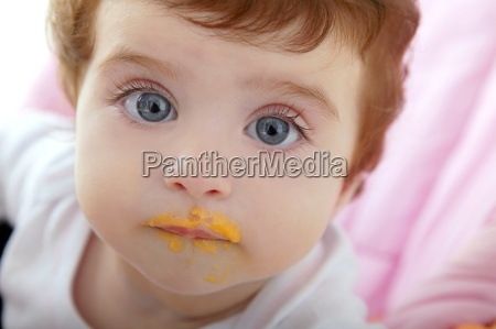 baby deity mouth of eating porridge