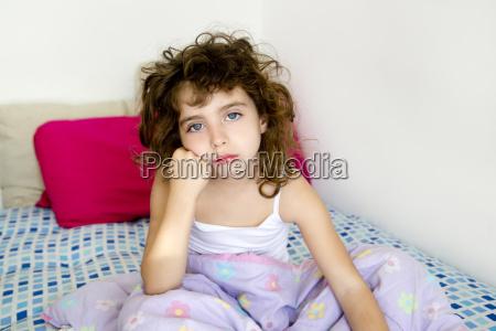 brunette girl boring bed messy morning