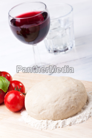 raw yeast dough on a cutting