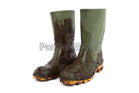 rubber boots with mud