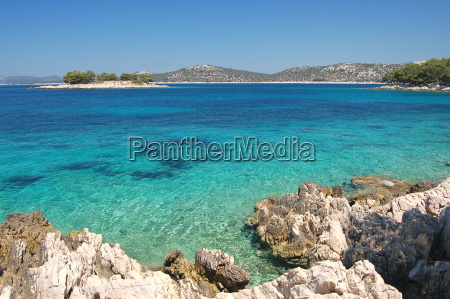 dalmatian rocky beach of adriatic sea