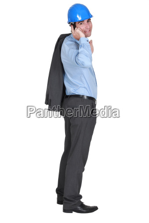architect standing on white background