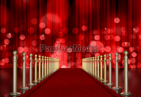 red carpet entrance with red light