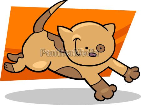 running spotted kitten